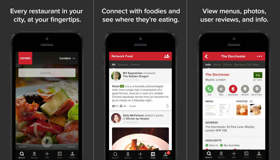 Zomato Food Finding App